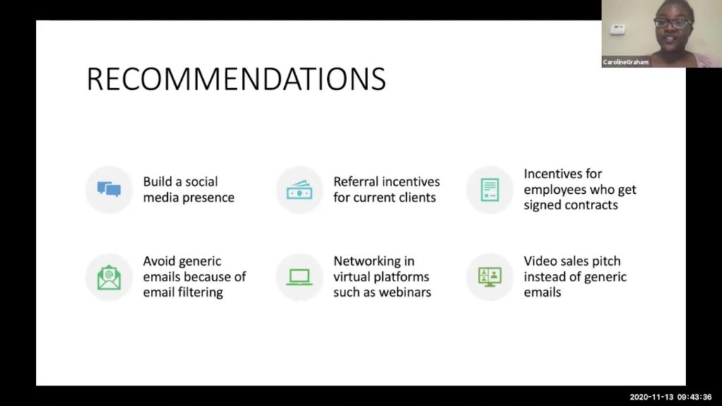 Caroline Graham gives a virtual presentation for the ICSC sales management case.